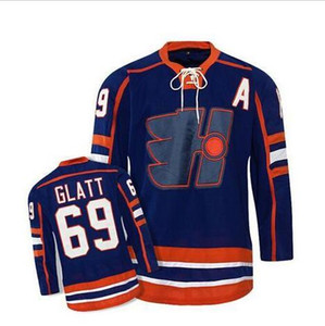 Даг бандита # 69 Glatt Halifax Highlanders Hockey Jersey Blu S-3XL новый