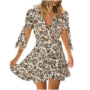 vestito floreale vestito elegante Donna V-Neck manica corta geometrico fiore di stampa Bandage Cintola Dress Casual veste femme