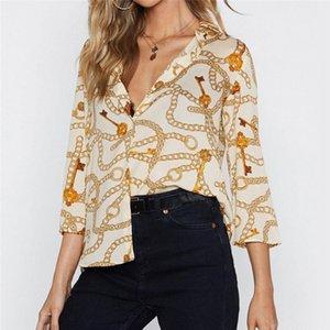 Женщины блузки цепи печати лето шифон блузка отложным воротником офис рубашки свободные повседневные топы Blusas сорочка femme плюс размер