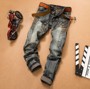 Mens jeans Slim Fit Ripped Jeans Men Hi-Street Mens Distressed Denim Joggers Knee Holes Washed Destroyed Jeans