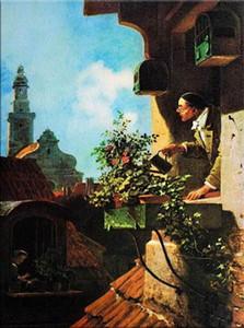 A030 # Carl Spitzweg - Im Dachstübchen Home Decor dipinto a mano HD Stampa Olio su tela di arte della parete della tela di canapa Immagini 200105
