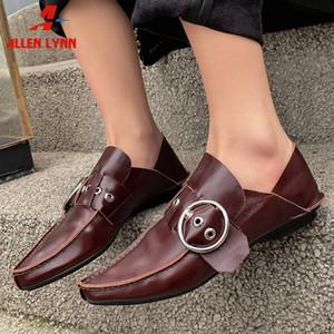 ALLENLYNN Yeni Lady 2020 Moda Dekorasyon Ayakkabı Kadın Kalite Tüm Gerçek Deri Flats Kadınlar Tasarım Sivri Burun loafer'lar
