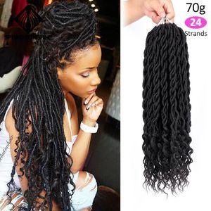 Goddess Locs Crochet Hair Wavy Curly Faux Locs 3Pcs / Lot Crochet Braids Extensiones de cabello sintético Dreadlocks Locs de crochet Cabello trenzado