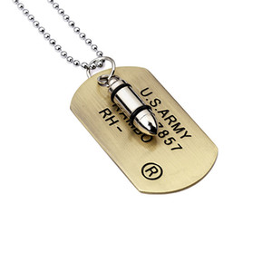 Tarjeta Militar de acero inoxidable de la joyería hombre de cadena de acero inoxidable placas de identificación colgantes de moda collar de perlas Collares 70cm de cadena larga