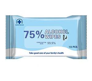 200 pz 75% di alcol salviettine umidificate Portatile Tessuto bagnato Usa E Getta Non pulito antisettico disinfettante salviette All'ingrosso Consegna Veloce