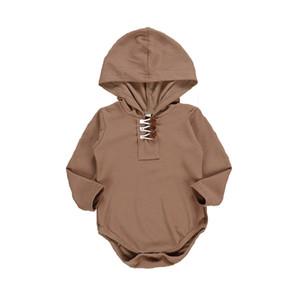 Casual Bebê recém-nascido com capuz Romper Crianças Roupa outono Meninas Sólidos Knitting manga comprida Onesies Baby Boy Primavera Casual Jumpsuit 06