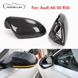 Para Audi A6 S6 RS6 C7 2012-2018 Carbon Fiber espelho abrange espelho retrovisor Cap Com / Sem Side Assist Pista 1: 1 substituição