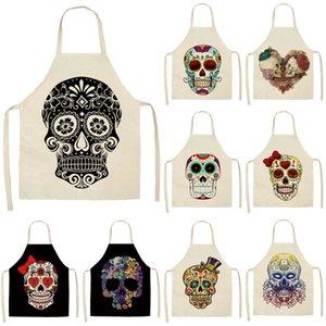 1pcs motif de crâne tablier de cuisine pour cuisson sans manches en coton lin Tabliers adultes Bibs Nettoyage domestique Accessoires 53 * 65cm MC0026