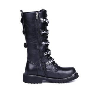 Black Boots Men Punk Military Boots Fashion Rivets High-Top Pu Leather Shoes Top Quality Zip Army Combat High Boots Casual Shoes