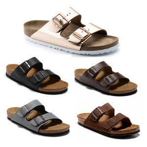 Arizona Women's Flat Sandals Women Double Buckle Famous style Summer Beach design shoes Top Quality Genuine Leather Slippers 36-47