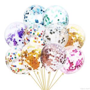 Confeti Globos Set Stick Multicolor Látex Lentejuelas Lleno Clear Ballons Niños Juguetes Fiesta de Cumpleaños Decoraciones de Boda Suministros