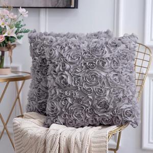 소파 침실 자동차 쿠션 커버에 대한 3D 장식 로맨틱 스테레오 쉬폰 장미 꽃 베개 커버 솔리드 광장 베개 케이스