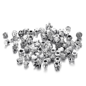 Mix Colors Big Hole Loose Beads Charm For Pandora DIY Jewelry Bracelet For European Beads Set Accessories