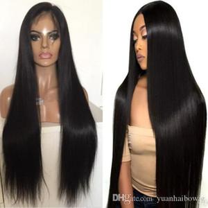 Perruques perruques de célébrités Première perruque Silky Droit Naturel Naturel Noir 10a Virgin Malaisien Cheveux humains Perruques de dentelle pleine dentelle pour femme noire Livraison gratuite