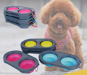 لطي كلب مغذيات السلطانيات سيليكون القط تغذية مزدوجة السلطانية السفر صديقة للبيئة القط طوي إمدادات الكلب مع حلقة تسلق XD21363
