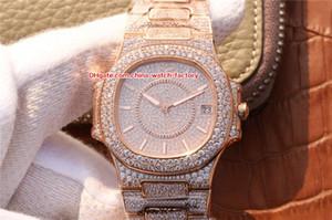 2 colores de la mejor calidad del reloj 37mm Nautilus 7021 Full Diamond Bisel Pulsera Suiza Cal.324 S C Movimiento automático Reloj para mujer Relojes