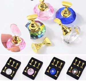 1set Nail Holder Support de formation pratique présentoir Acrylique Titulaires de Cristal Alliage Faux Astuce Diy Manucure Outils