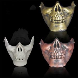 Cráneo media mascarilla de plástico de Halloween Terror Máscaras Proteger Esqueleto humano partido de la bola al aire libre adulto Regalo de suministro 0 88om H1
