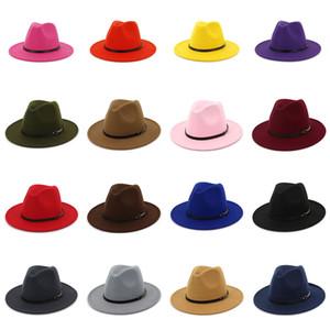 Wollfilz Fedora Panama-Hut-Frauen-Dame-Wolle Breite Lässige Outdoor-Jazz-Kappe 16 Farben Krempe Z0331