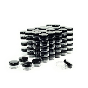Косметические контейнеры Примеров баночки с черными Люками пластиковых контейнеров для макияжа Sample BPA бесплатно горшок Кувшинов 3g 5 г 10г 15г 20 гры
