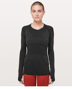 النساء اليوغا الأعلى كم كامل سبورت تي شيرت جاف سريعة للياقة البدنية الملابس الرياضية رياضة الجري الركض قمصان