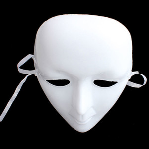 Effrayant Masque En Plastique Blanc Masque Ball Party Costume Halloween Masque Visage Complet Mascarade DIY Mime Cosplay Props Halloween Décoration