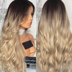 Женская мода градиент блондинка парики длинные вьющиеся волосы смешанные цвета синтетические кружева перед парик сексуальная прическа для женщин