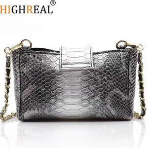 Highreal New Women Serpentine Pattern Handtasche Fashion Chain Schultertasche Snake Embossed Cross-body BagMX190822