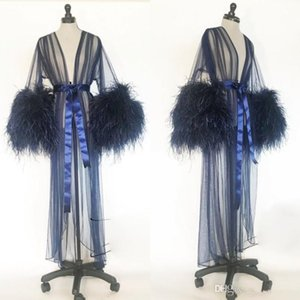Sexy Women Robe Fur Nightgown Bathrobe Sleepwear V Neck Bridal Robe with Belt Wedding Party Gifts Navy Bridesmaid Dress