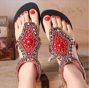 silver beading summer shoes woman rhinestone flip flops gladiator sandals women flat heel ethnic beach sandals