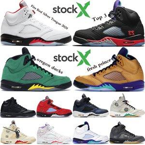 2020 nouvelles 5s chaussures de basket-ball Jumpman 5 de réflexion gris huile Silver Tongue Red Fire Top 3 sneakers mens travis formateurs