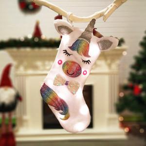 Weihnachtsdekoration Einhorn-Karikatur Tierplüsch Hanging Trumpf mit Licht Candy Bag Geschenke Beutel-Partei-Festival Lieferungen ZZA1142