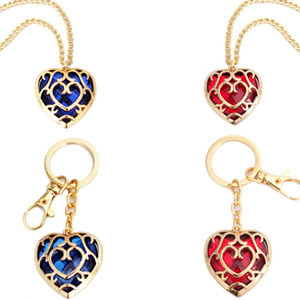 Zelda Heart Crystal Pendant Necklace Fashion Woman Cartoon Love Keychains Lady Anime Movie Jewelry Party Gift TTA-1042