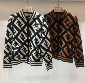 Abridor de outono e inverno, grande letra F manga longa malha camisa, bolso com zíper de moda, jaqueta curta, desgaste da mulher