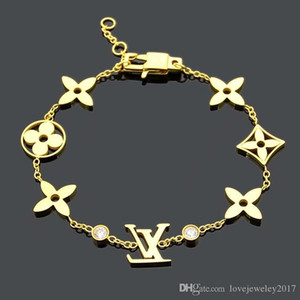 donne gioielli di design di lusso di perline quattro foglie di braccialetti di fascino del fiore del diamante in oro rosa con gioielli accessori logo di moda