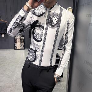 2019 nova juventude tendência da moda selvagem camisa impressão digital camisa de mangas compridas coreano Magro cabeleireiro shirt dos homens