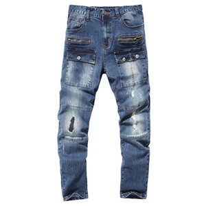 Jeans Baratos Hombre Primavera Autumn Homme Biker Skinny Jeans Hombres Alta Calidad Hombre Agujero Pantalones Denim Pantalones Masculinos Motocicleta Diseñador de moda Azul
