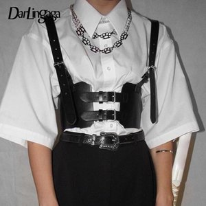Darlingaga Streetwear Black PU Leather Crop Top Women Festival Cami Buckle Vest Cummerbunds Adjustable Summer Top Cropped Tanks Y200701
