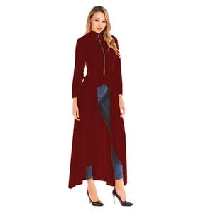 Abbigliamento Donna Moda Irregolarità Trench Primavera collare del basamento Designer Zipper maniche lunghe cappotti Nuovo casuale