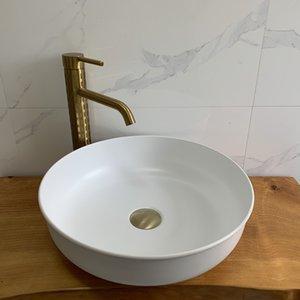 Cangler laiton salle de bain vasque en laiton Europe du Nord ronde Vanity Sink barre ronde évier comptoir pur lavabo salle de bain blanc évier lavabo art