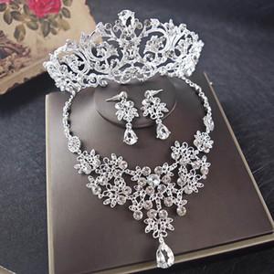 Top venta de cristal con cuentas corona nupcial collar pendientes conjuntos noche mujeres joyería del partido eventos formales joyería nupcial conjuntos plata