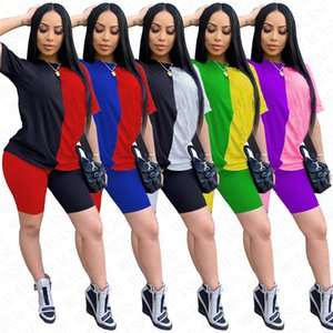 Letters Printed Fashion Women Tracksuit Clothes Shorts Sets Two Piece T-shirt + Shorts Brand Outfits Casual Summer Patchwork S-XXL NK7101