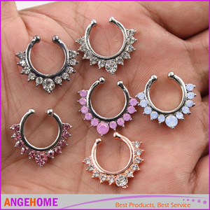 Nose Ring Crystal Alloy Nose Hoop Rings Body Piercing Jewelry Fake Septum Clicker Non Piercing Hanger Clip On Women Body Jewellry