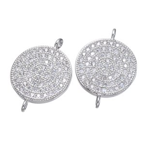10piece Copper Jewelry Connectors Rhodium Plated Micro Pave Round Clear Cubic Zirconia Connector