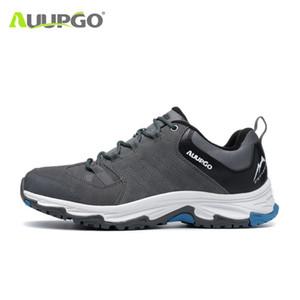 Auupgo escursionismo pattini di cuoio genuini Hiking Boots traspirante Montagna stivali da uomo Scarpe da tennis delle donne sport a piedi scarpe da trekking
