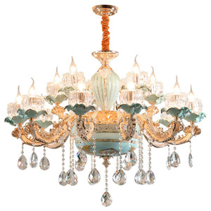 glass crystals for chandeliers Green Ceramic Chandeliers Zinc Alloy Gold Living Room Lighting Dining Room Crystal Chandeliers