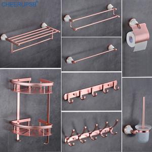 욕실 공간 알루미늄 액세서리 세트 로즈 핑크 목욕 타올 홀더 스위트 호텔 하드웨어 정장 벽 마운트 수건 걸이 세트