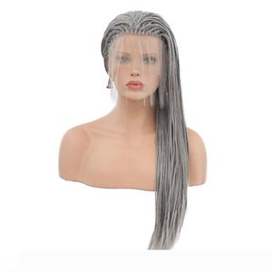 Braided Wigs Heat Resistant Fiber Siver Grey Long Synthetic Braided Lace Front Wigs For Women Wig With Baby Hair
