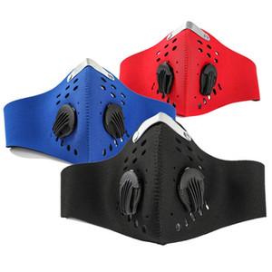 Hombres / Mujeres Carbón Activado a prueba de polvo Ciclismo Cara máscara de la máscara anti-contaminación para bicicleta de entrenamiento al aire libre protector de cara máscara de la bici con el filtro