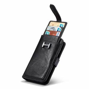 2 в 1 съемный кожаный бумажник 9 карт чехол для iphone 11 pro Max XS XR 8 7 6S Plus S8 S9 S10 Примечание 10 Plus